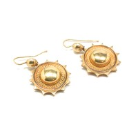 Etruscan Revival 15kt Gold Earrings