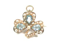 Antique Aquamarine, Pearl Shamrock Pin Pendant
