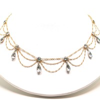 Edwardian Aquamarine 18kt Fringe Necklace