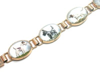 14kt Reverse Painted Crystal Terrier Dogs Bracelet