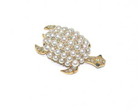Articulated Pearl & Diamond Turtle Pin