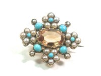 Antique, Citrine, Turquoise, Seed Pearl Pin