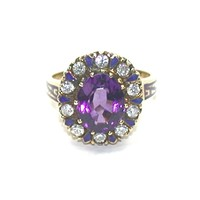 Amethyst, Enamel, Diamond Cluster Ring