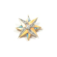 Enamel and Diamond Star Pin