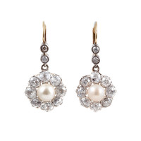 Dazzling Antique 3.0 Carats Diamond Pearl Cluster Earring
