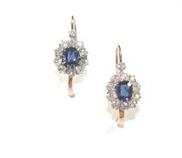 Antique Sapphire Diamond Cluster Drop Earrings