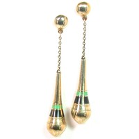Unusual Art Deco Gold Enamel Earrings