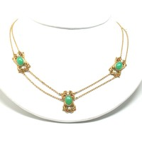 Art Nouveau Chrysoprase Necklace