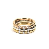 Roberto Coin Tri-Color Band Ring with Diamonds