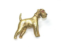 Cartier 18kt Terrier Pin in Box