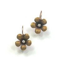Antique Dainty Flower Earrings with Diamond